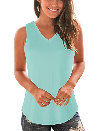 WFTBDREAM Loose Tank Tops for Women V Neck Solid Color T Shirts Light Green M ()