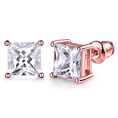 GULICX 7mm Stone Diamante CZ Square Pierced Studs Rose Gold Electroplated Earrings ()