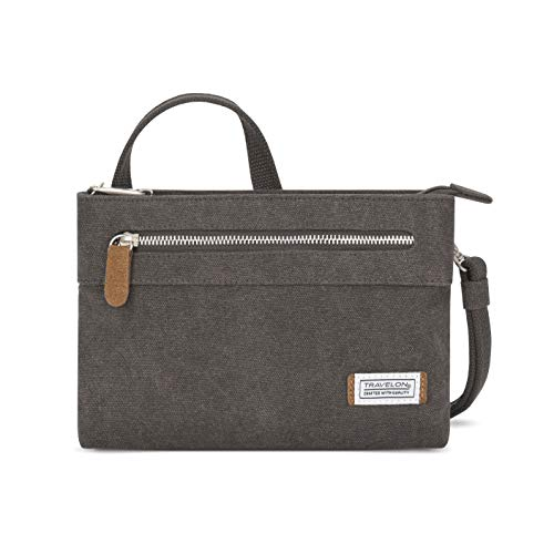 Travelon Women's Anti-Theft Heritage Small Crossbody Cross Body Bag, Pewter, One Size – 33226 540