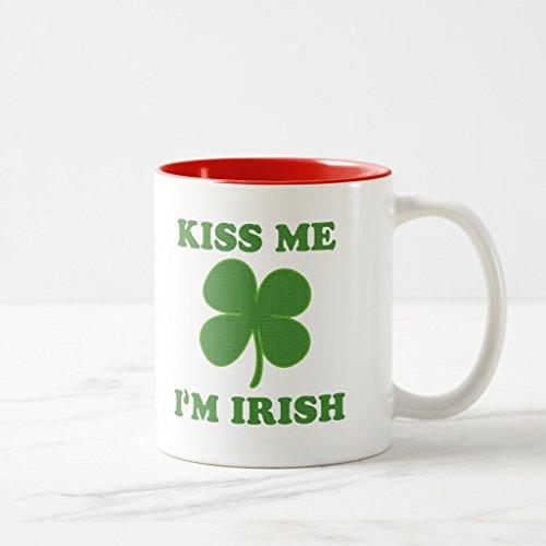 Zazzle Cute Kiss Me I'm Irish Sayings Coffee Mug, Red Two-Tone Mug 11 (Im Irish Stein)