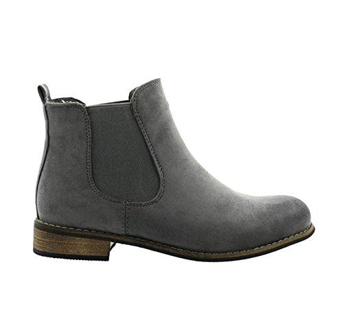 Damen Chelsea Boots Stiefeletten Flache Schlupfstiefel Schuhe ZY90 Grau
