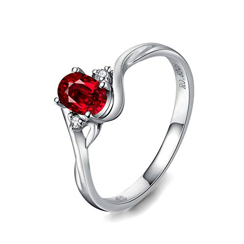 MoAndy White Gold 18K Ring for Women Wedding Rings for Her Ruby 0.5ct & Diamond Red Size 7.5 ()