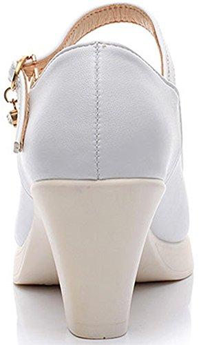 Aisun Damen Elegant Pointed Toe Niedrig Trichterabsatz Schnalle Pumps Weiß