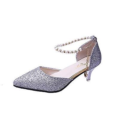 ProDIgal Womens Ankle Strap Mid Heels Sandals Dress Bridal Party Pumps Stilettos Shoes