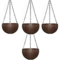 Airex Plastic Hanging pots for Plants and Flowers for Garden Balcony dŽcor -Pack of 4, Coffee (Brown)