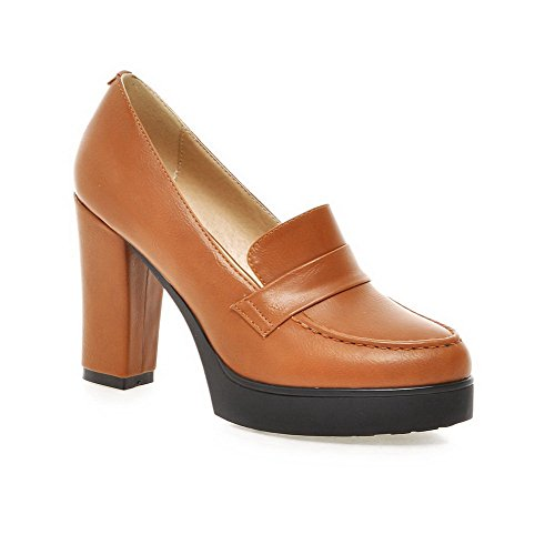 Amoonyfashion Mujer Solid Solid Material High-heels Pull-on Ronda Cerrada Toe Pumps-Zapatos Amarillo