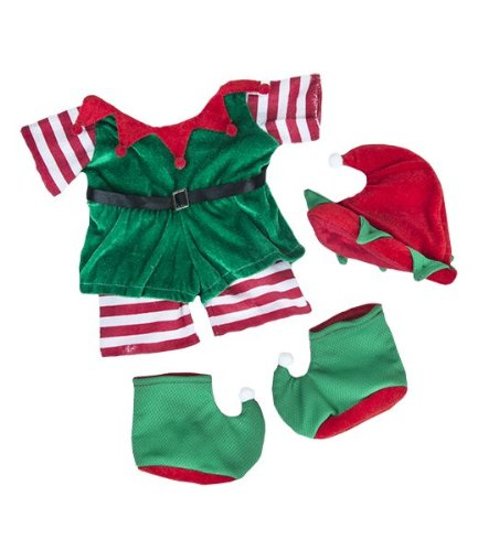 """Christmas """"Elf"""" Outfit Teddy Bear Clothes Outfit Fits Most 14"""" - 18"""" Build-a-bear, Vermont Teddy Bears, and Make Your Own Stuffed Animals"""