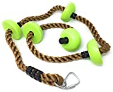 ChooseDaily 6.5 Foot Ninja Climbing Rope with 5 Foot Holds and Safety Carabiner | Ninja Warrior Training Equipment