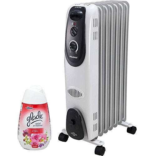 PELONIS Adjustable Thermostat Ultra Quite Safe Heat 1500W Electric Oil Filled Radiator Heater with Air Freshener Oil Filled Heaters Pelonis