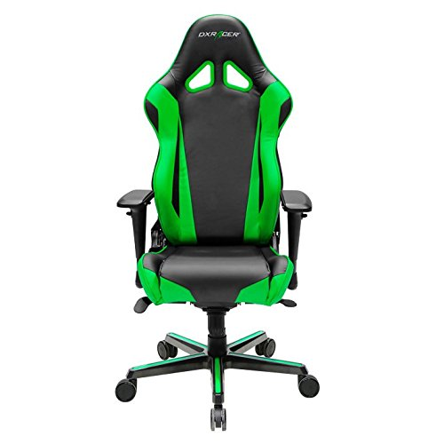 DXRacer-OHRV001NE-Racing-Series-Black-and-Green-Gaming-Chair-Includes-2-free-cushions