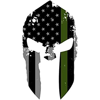 K9King Military Spartan Tattered Thin Green Line Helmet Sticker US Flag  Subdued Molon Labe Reflective Decal with Thin Green Line 45b0d8aa2aef