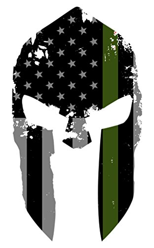 (K9King Military Spartan Tattered Thin Green Line Helmet Sticker US Flag Subdued Molon Labe Reflective Decal with Thin Green Line)