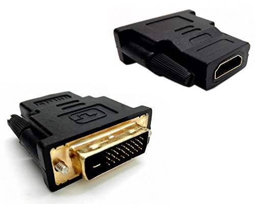 CGTime(2-Pack) High Speed HDMI Female to DVI 24+1 DVI-D Male Adapter Gold Plated Support 1080P for HDTV/Plasma/DVD ()