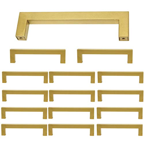 15 Pack Square Cabinet Pulls and Knobs Brushed Brass Finish 5 inch 128mm Hole Spacing Stainless Steel Kitchen Hardware Gold Handle Pull 138mm Length Modern Dresser Drawer Pull Closet Door Handles