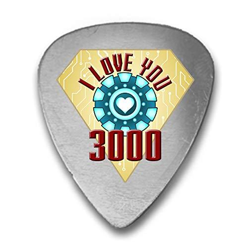 Printed Guitar Pick Picks - I Love You 3000 Metal Heart Reactor Film Parody - 3D Color Printed Guitar and Bass Pick Gift Silver