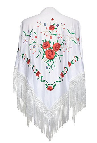 Spanish Dance Flamenco - La Senorita Spanish Flamenco Dance Shawl white with red roses