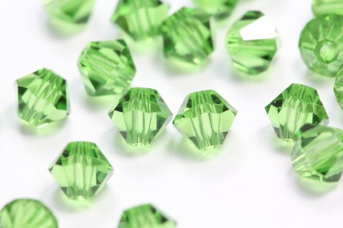 50 Czech Lime Green Bicone Crystal Beads 4mm Super Pretty Satisfaction Guaranteed :) Great Alternative For Swarovski Preciosa Crystalized Elements 5301 -