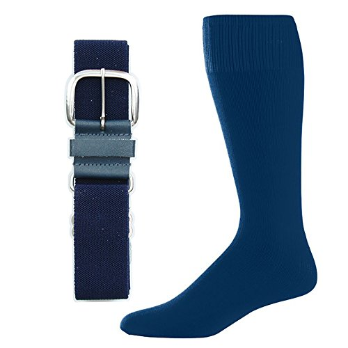 Blue Combo Belt (SteelLocker Baseball/Softball Belt & Sock Combo (Small (Youth 12-5, Ladies 4-7), Navy))