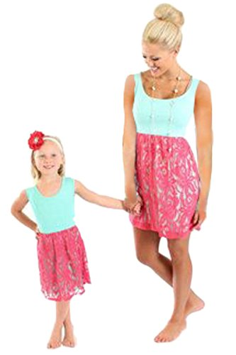 YMING Family Matching Mother and Daughter Parent-Child Flower Shirt Dress (Mom,XL)