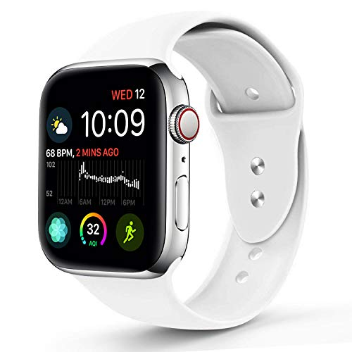 NUKELOLO Sport Band Compatible with Apple Watch 42MM 44MM,Soft Silicone Replacement Strap Compatible for Apple Watch Series 4/3/2/1 [S/M Size in White Color]