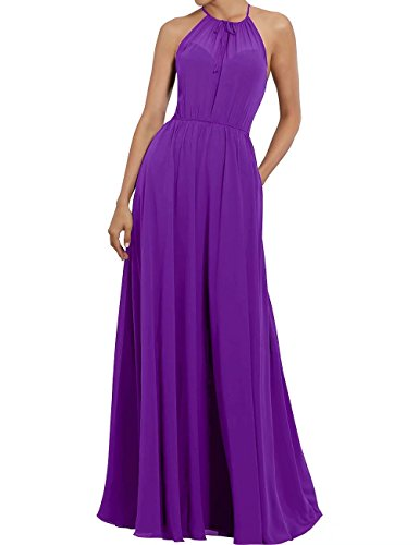 Bridesmaid AiniDress Evening Dress Women's Illusion Purple Prom Formal Halter Gown Chiffon pnn4x