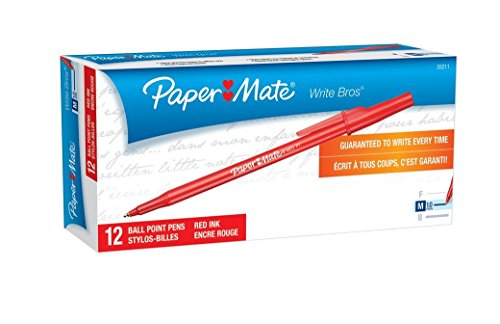 paper-mate-write-bros-ballpoint-pens-medium-point-red-12-count