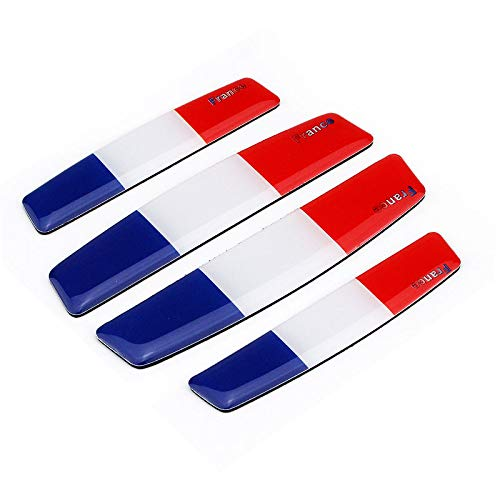 4x Soft Epoxy Resin French Flag France 3 Color Car Door Bumper Corner Protection Scrach Resistant Trim Sticker Decal Collision-prevention Emblem Badges