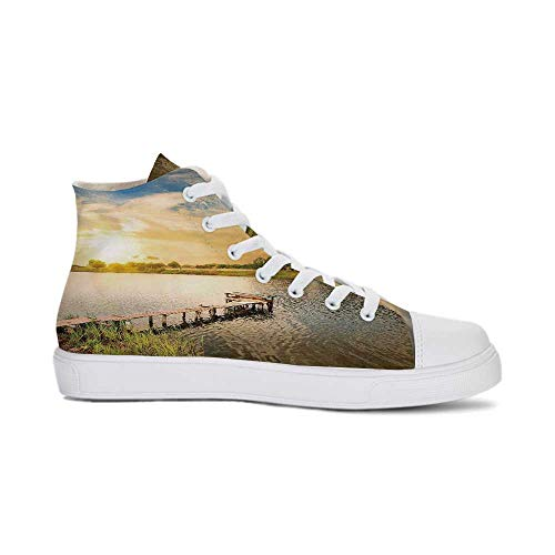 Nature Durable High Top Canvas Shoes,Wooden Deck on The Lake Surrounded by Foliage Greenery Evening Sky Serene Landscape for Men,US 13
