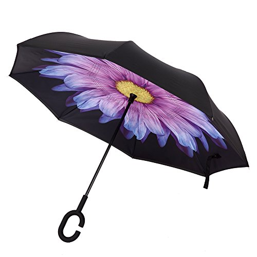 Xiuying Feng Better Portable Reverse/Invertable/Inverted Double Layer Windproof Waterproof UV Protection Big Folding Straight Umbrella,Self-Standing &C-Shape Handle Umbrella (Purple Daisy)