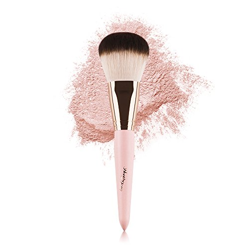 Anne's Giverny Kabuki Large Bronzer Brush Loose Powder Foundation Make up Brush for Blending Blush Makeup (Pink) (Best Mac Brush For Powder Foundation)