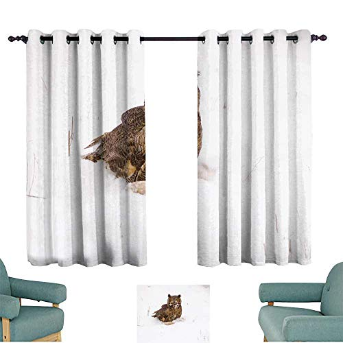 WinfreyDecor Novel Curtains Bird-Great Horned owl Suitable for Bedroom Living Room Study, etc.55 Wx63 L