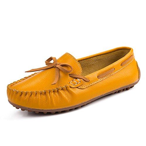 Pantofole su Scarpe Vilocy Appartamenti Mocassini Bowknot Guida Mocassini Donna Giallo Tempo Pelle Scivolare Libero qWACTwRB7x