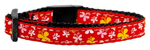 Mirage Pet Products Butterfly Nylon Ribbon Cat Safety Collar, Red