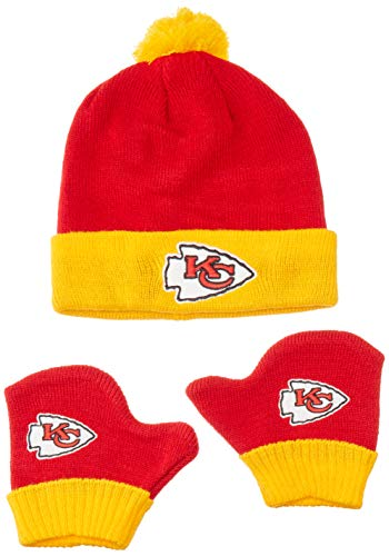 OTS NFL Kansas City Chiefs Pow Knit Cap & Mittens Set, Torch Red, Infant
