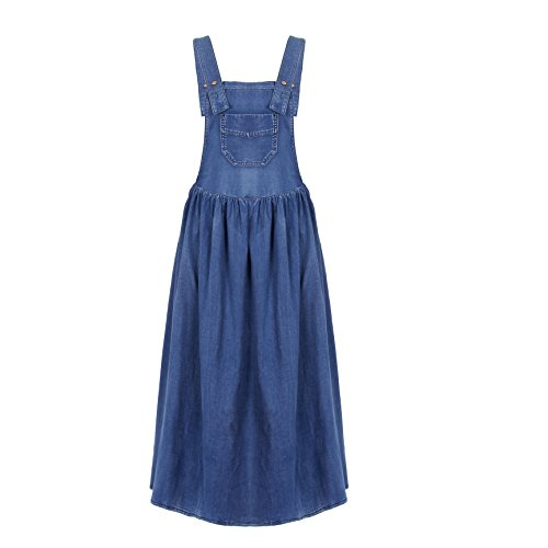 NONOSIZE Women's Blue Overall Jumper Loose Casual Midi Skirt Denim Dresses with Pockets
