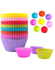 Kinbelle Reusable Silicone Cupcake Liners Baking Cups Muffin Cups Cake Molds Case Wrappers, 24 Pieces Rainbow Colorful