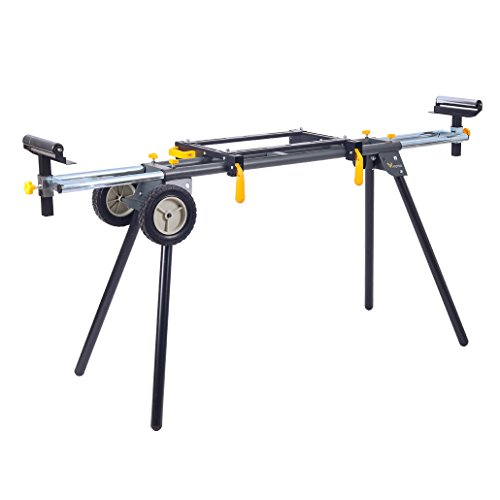 Deluxe Heavy Duty Rolling Miter Saw Stand with 8 in Wheels 330 Lbs Load Capacity Black and Grey Single Pack WK-MS029E-2