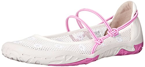 Jambu Women's Kiwi Mary Jane Flat, White/Rose, 9 M US