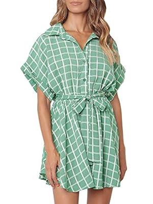 Miessial Women's Cute Plaid Belted Button Up Mini Dress Loose Summer Short Shirt Dress