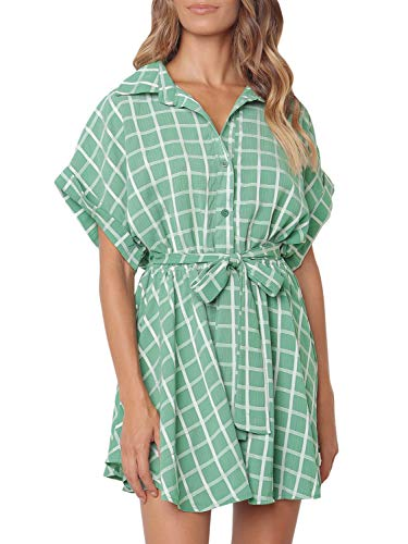(Miessial Women's Cute Plaid Belted Button Up Mini Dress Loose Summer Short Shirt Dress Green 4/6)