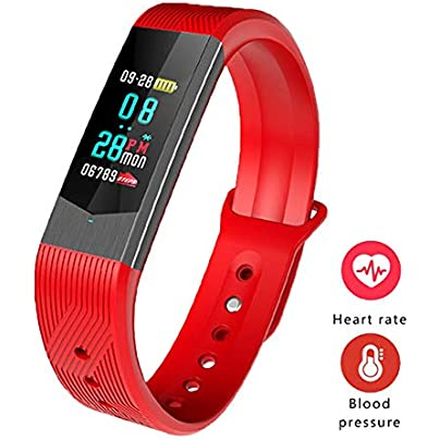 MHCYKJ Fitness Tracker Smart Bracelet Heart Rate Monitor Blood Pressure Monitor Smart Band Message Reminder Wristband Red Estimated Price -
