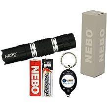 NEBO 5112 CSI Luma 50 Lumens Tactical LED Flashlight with 1x Extra Energizer AA Battery and LightJunction Keychain Light (Black)