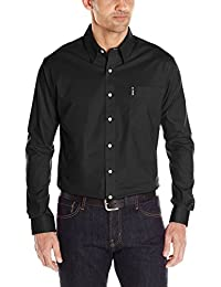 Men's Modern Fit Long Sleeve Button One Open Pocket Solid Basic