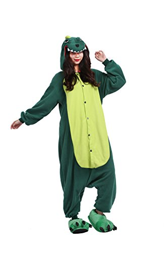 YUWELL Adult Animal Pajamas Green Dinosaur Plush Cosplay Costume Onsies Sleepwear