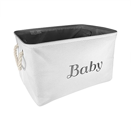 Baby Storage Bins for girls or boys, Foldable White Canvas fabric Storage Baskets with Gray Embroidering. Perfect as Nursery Decor and organizer. Great Baby Shower Basket idea.