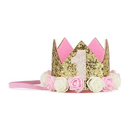 - iMagitek Baby Girl 1st Birthday Rose Flower Crown, Baby Princess First Birthday Crown Tiara Cake Smash Photo Prop