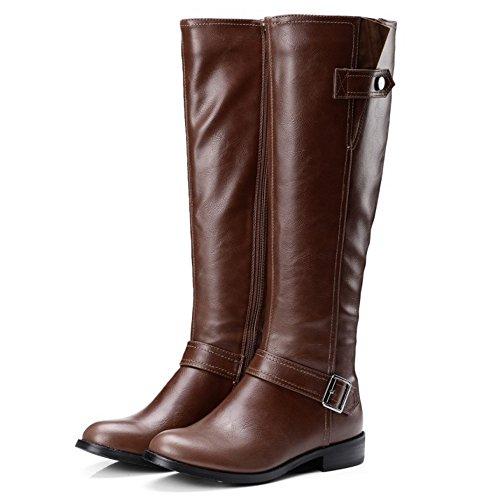 Brown Eclair Femmes Riding 1439 Hautes Bottes Classique TAOFFEN Hiver Fermeture Boots YdvYqx