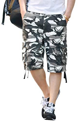 - CANASOUR Men Khaki Camouflage Multi Pockets Jogger Capri Cargo Shorts (US Size 38, White Camouflage)