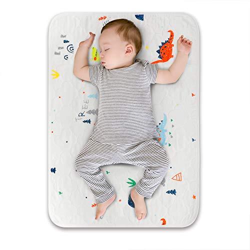 Wickelauflage Wickelunterlage 70x50 cm Öko-Baumwolle rutschfest atmungsaktiv abwaschbar für Säugling und Kleinkinder (Dinosaurier)