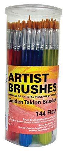 - Royal Brush Flat Synthetic Golden Taklon Hair Polymer Handle Classroom Value Brush Set, Assorted Size, Set of 144 - 1440162